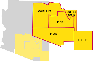 Map showing Pima, Pinal, Maricopa, & Cochise Counties -- plus the Copper Basin area.