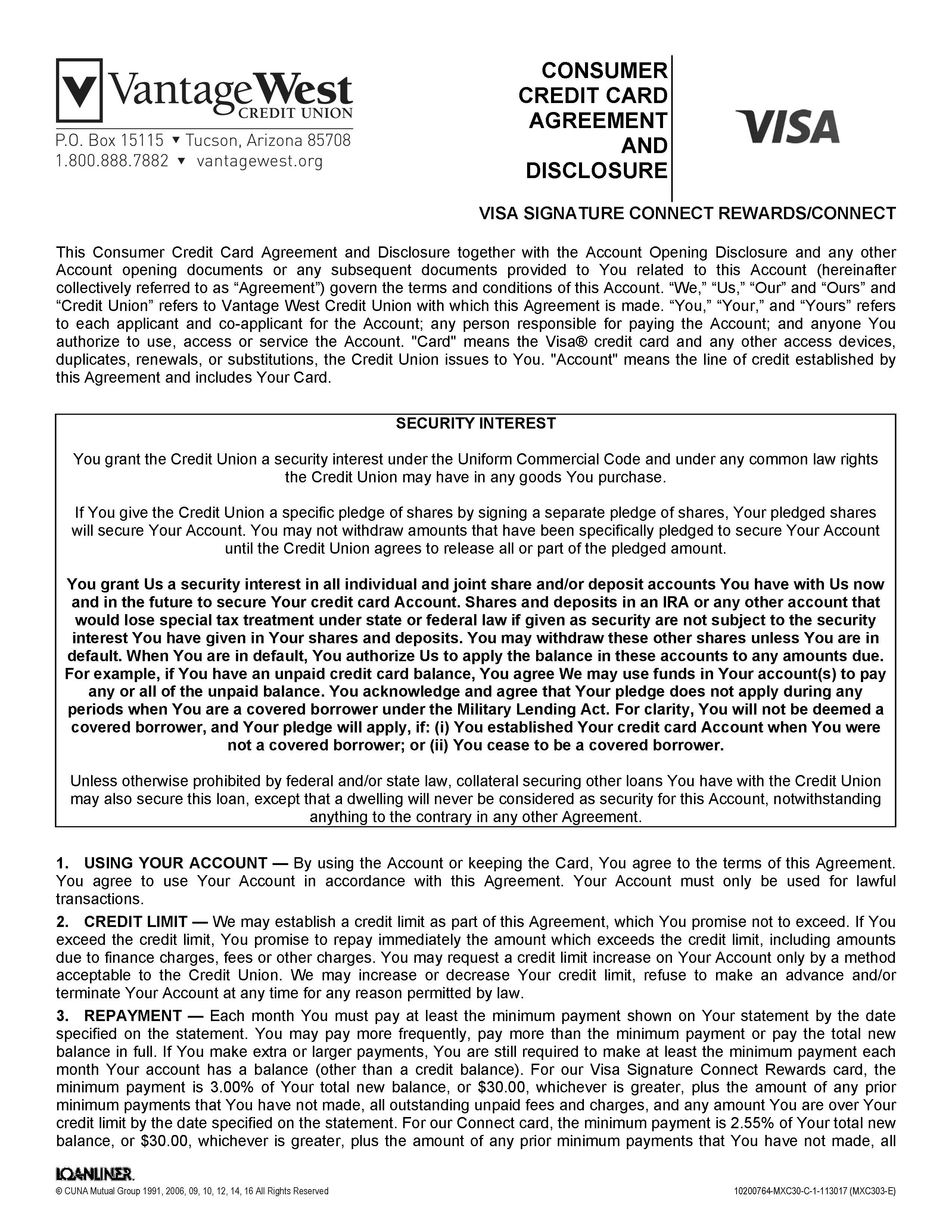 Consumer Credit Card Agreement And Disclosure Page1 Vantage West