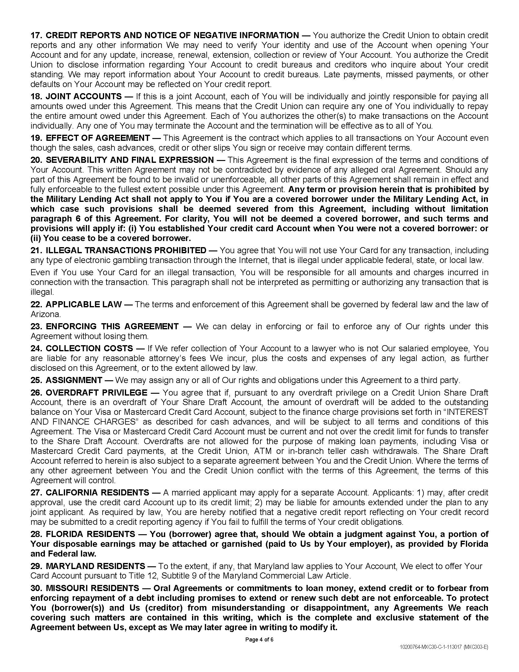 Consumer Credit Card Agreement And Disclosure Page4 Vantage West