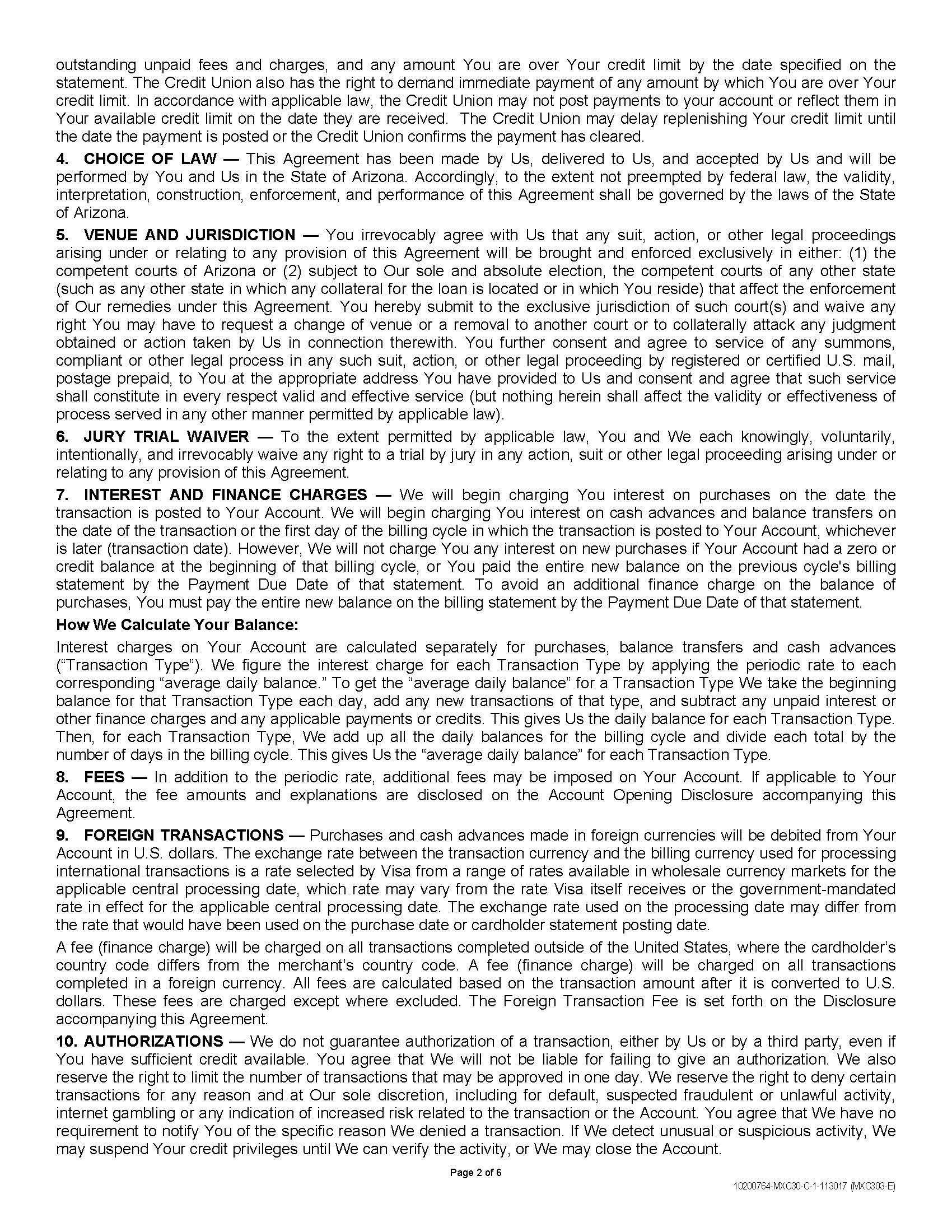 Consumer Credit Card Agreement And Disclosurepage2 Vantage West